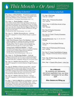 Monthly Newsletter | Monthly Newsletter Temple Beth Ami Rockville Md