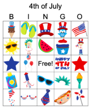 July 4th bingo image