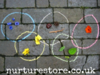 Olympic rings with chalk