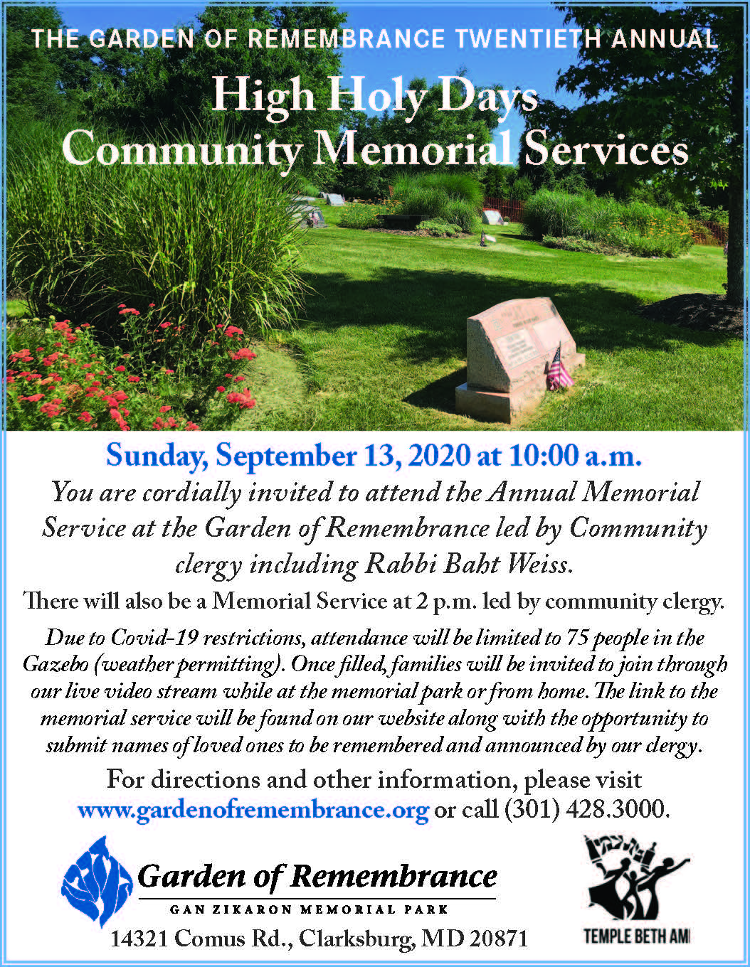 Garden of Remembrance Memorial Park 20th Annual Memorial Services<br/>Sun. Sept 13 (10:00 am & 2:00 pm)