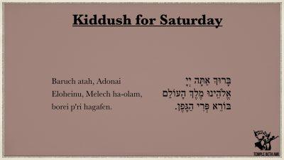 Kiddush for Saturday Morning