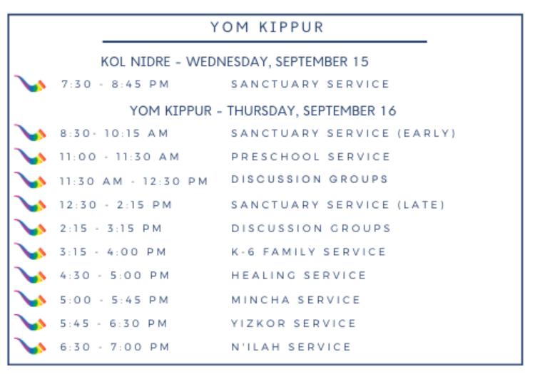 Yom Kippur 5782 Schedule