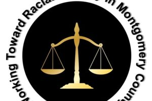 """Graphic of """"Scales of Law"""" (balance measure) with the text """"Working Toward Racial Equality in Montgomery County"""""""